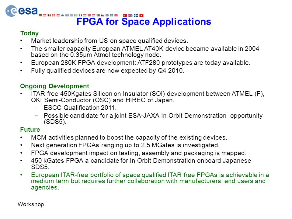Workshop FPGA for Space Applications Today Market leadership from US on space qualified devices. The smaller capacity European ATMEL AT40K device beca
