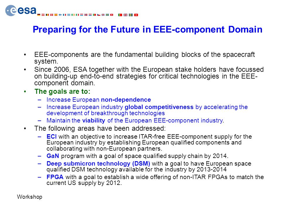 Workshop Preparing for the Future in EEE-component Domain EEE-components are the fundamental building blocks of the spacecraft system. Since 2006, ESA