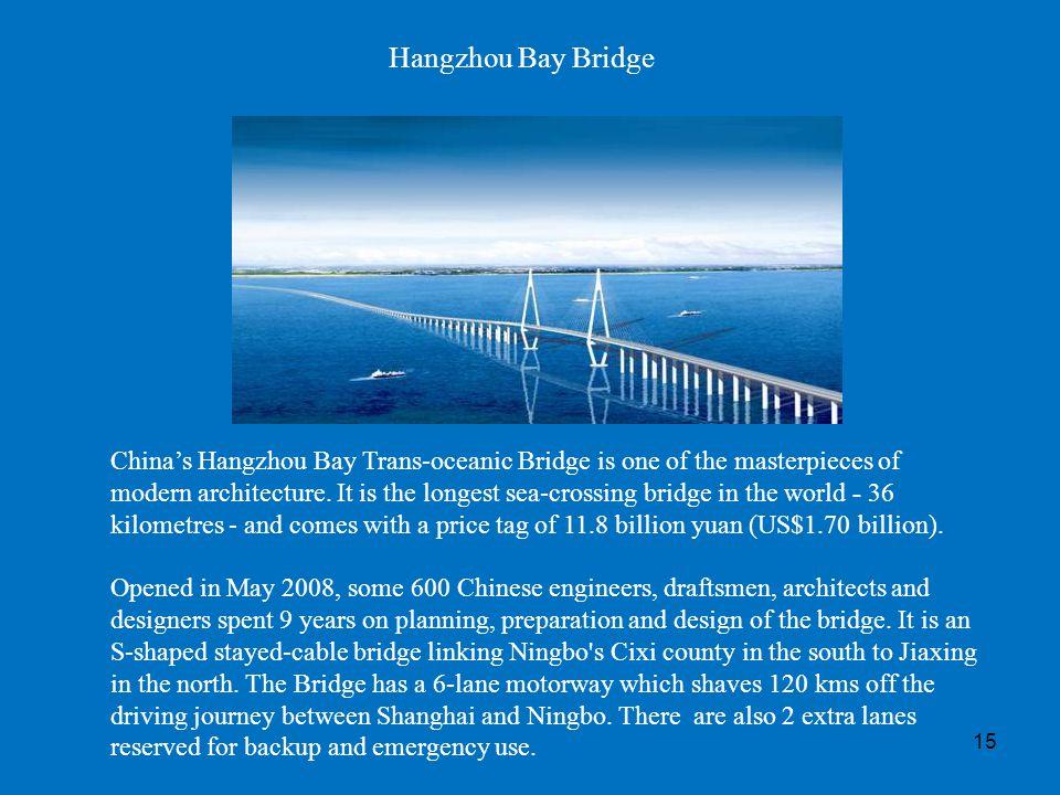 15 Hangzhou Bay Bridge Chinas Hangzhou Bay Trans-oceanic Bridge is one of the masterpieces of modern architecture. It is the longest sea-crossing brid