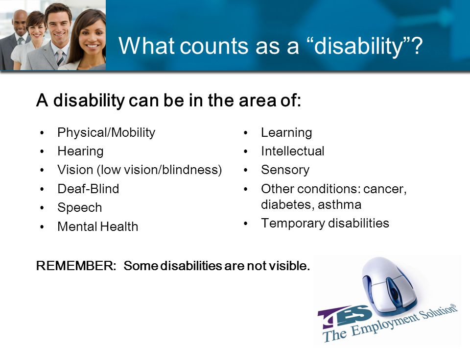 What counts as a disability.