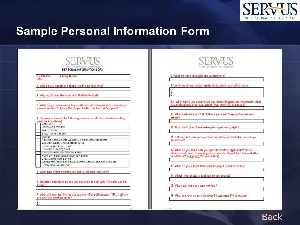 Back Sample Personal Information Form