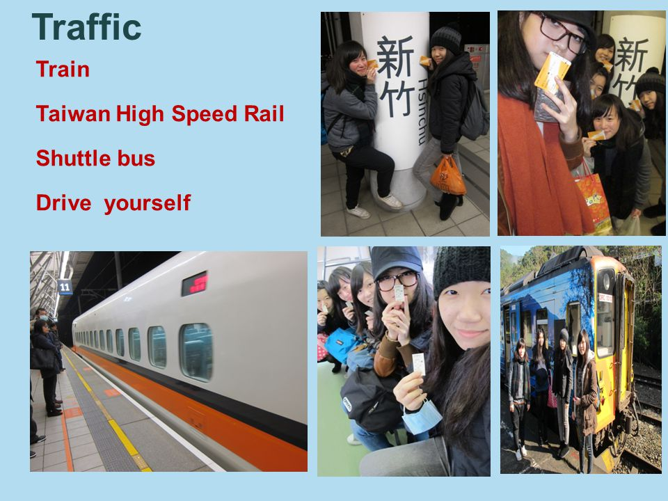 Train Taiwan High Speed Rail Shuttle bus Drive yourself Traffic
