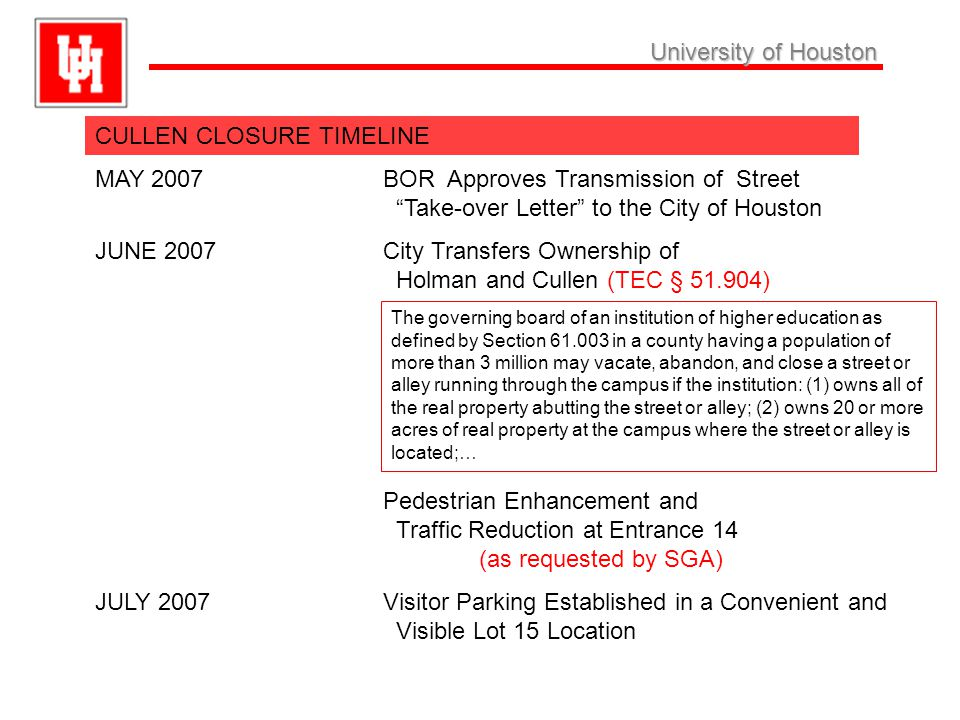 University ofHouston University of Houston CULLEN CLOSURE TIMELINE, Cont.