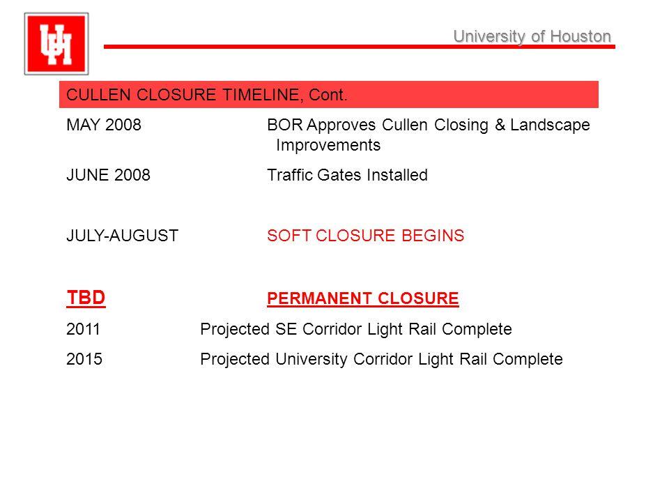 University ofHouston University of Houston CULLEN CLOSURE TIMELINE, Cont.