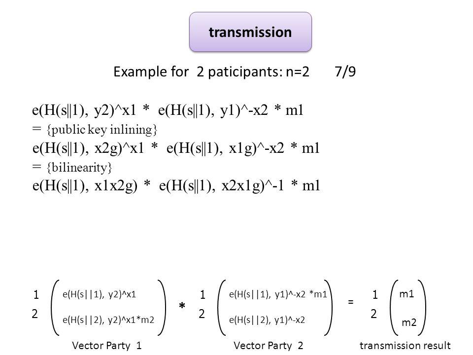 Example for 2 paticipants: n=2 7/9 e(H(s||1), y2)^x1 * e(H(s||1), y1)^-x2 * m1 = {public key inlining} e(H(s||1), x2g)^x1 * e(H(s||1), x1g)^-x2 * m1 = {bilinearity} e(H(s||1), x1x2g) * e(H(s||1), x2x1g)^-1 * m1 transmission * Vector Party 1Vector Party 2 = 2 1 e(H(s||1), y2)^x1 e(H(s||2), y2)^x1*m2 2 1 e(H(s||1), y1)^-x2 *m1 e(H(s||2), y1)^-x2 2 1 m1 m2 transmission result