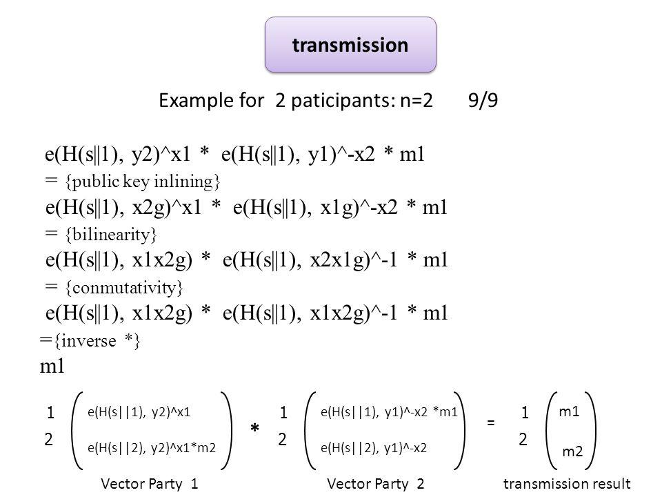 Example for 2 paticipants: n=2 9/9 e(H(s||1), y2)^x1 * e(H(s||1), y1)^-x2 * m1 = {public key inlining} e(H(s||1), x2g)^x1 * e(H(s||1), x1g)^-x2 * m1 = {bilinearity} e(H(s||1), x1x2g) * e(H(s||1), x2x1g)^-1 * m1 = {conmutativity} e(H(s||1), x1x2g) * e(H(s||1), x1x2g)^-1 * m1 = {inverse *} m1 transmission * Vector Party 1Vector Party 2 = 2 1 e(H(s||1), y2)^x1 e(H(s||2), y2)^x1*m2 2 1 e(H(s||1), y1)^-x2 *m1 e(H(s||2), y1)^-x2 2 1 m1 m2 transmission result
