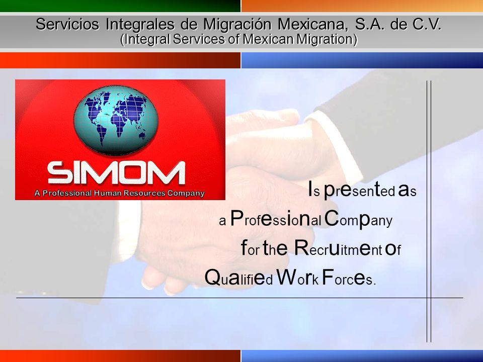 Servicios Integrales de Migración Mexicana, S.A. de C.V. (Integral Services of Mexican Migration) Servicios Integrales de Migración Mexicana, S.A. de