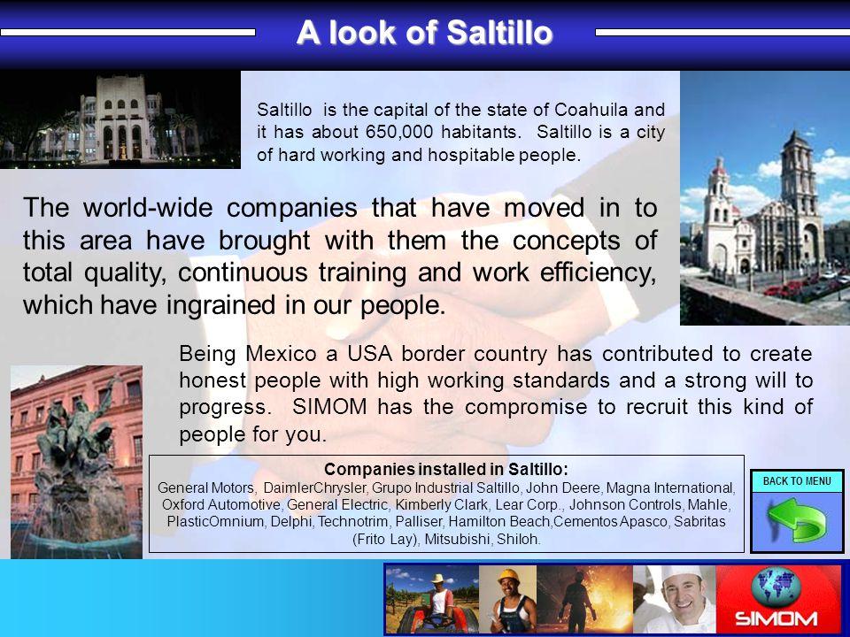 A look of Saltillo Companies installed in Saltillo: General Motors, DaimlerChrysler, Grupo Industrial Saltillo, John Deere, Magna International, Oxfor