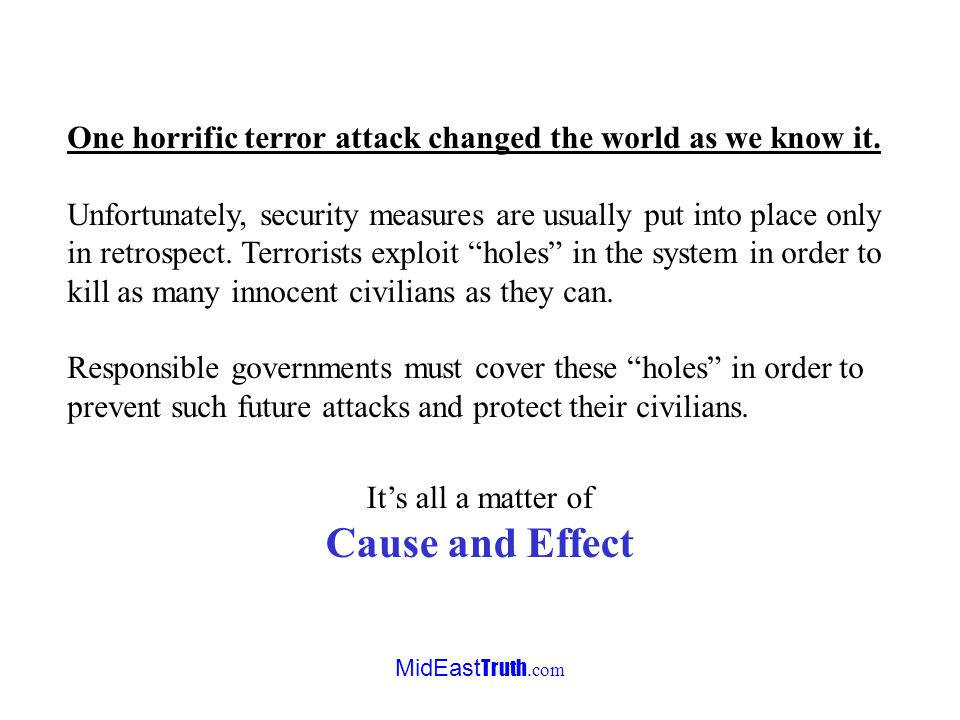MidEast Truth.com September 11, 2001 Attack on America In a horrific suicide attack against the United States, terrorists crash commercial passenger j