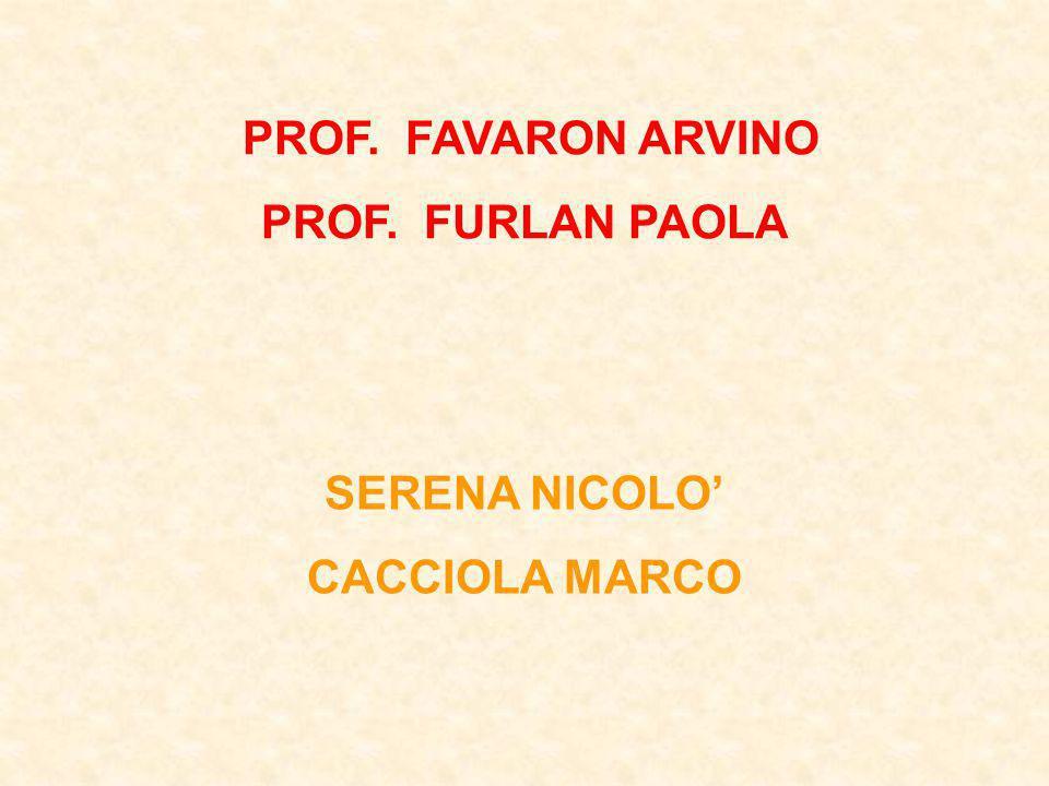 PROF. FAVARON ARVINO PROF. FURLAN PAOLA SERENA NICOLO CACCIOLA MARCO
