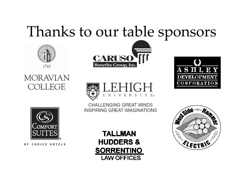 Thanks to our table sponsors