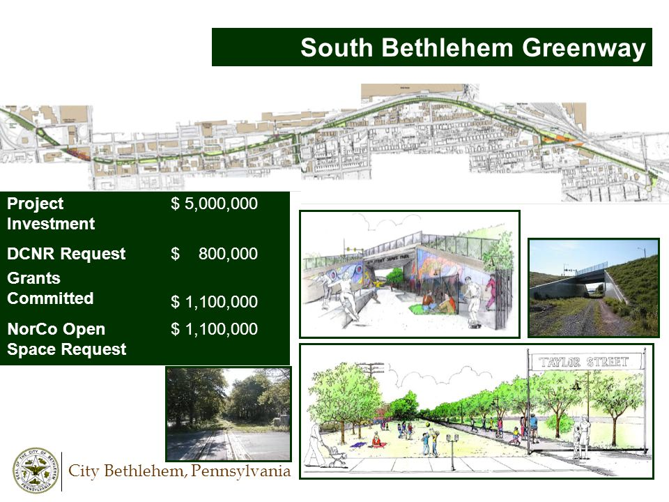 City Bethlehem, Pennsylvania South Bethlehem Greenway Project Investment $ 5,000,000 DCNR Request Grants Committed $ 800,000 $ 1,100,000 NorCo Open Sp