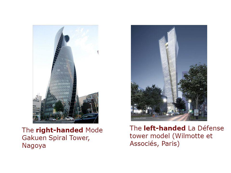 The right-handed Mode Gakuen Spiral Tower, Nagoya The left-handed La Défense tower model (Wilmotte et Associés, Paris)