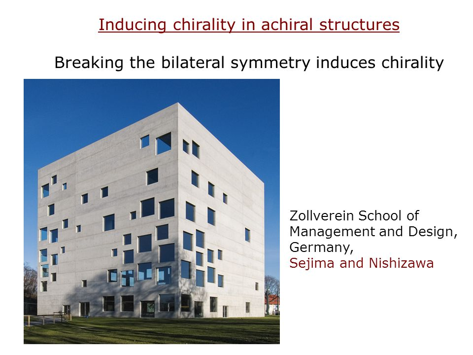 Zollverein School of Management and Design, Germany, Sejima and Nishizawa Inducing chirality in achiral structures Breaking the bilateral symmetry ind