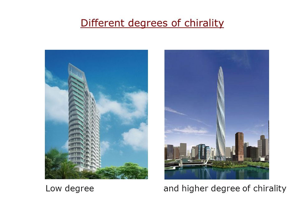 Different degrees of chirality Low degree and higher degree of chirality