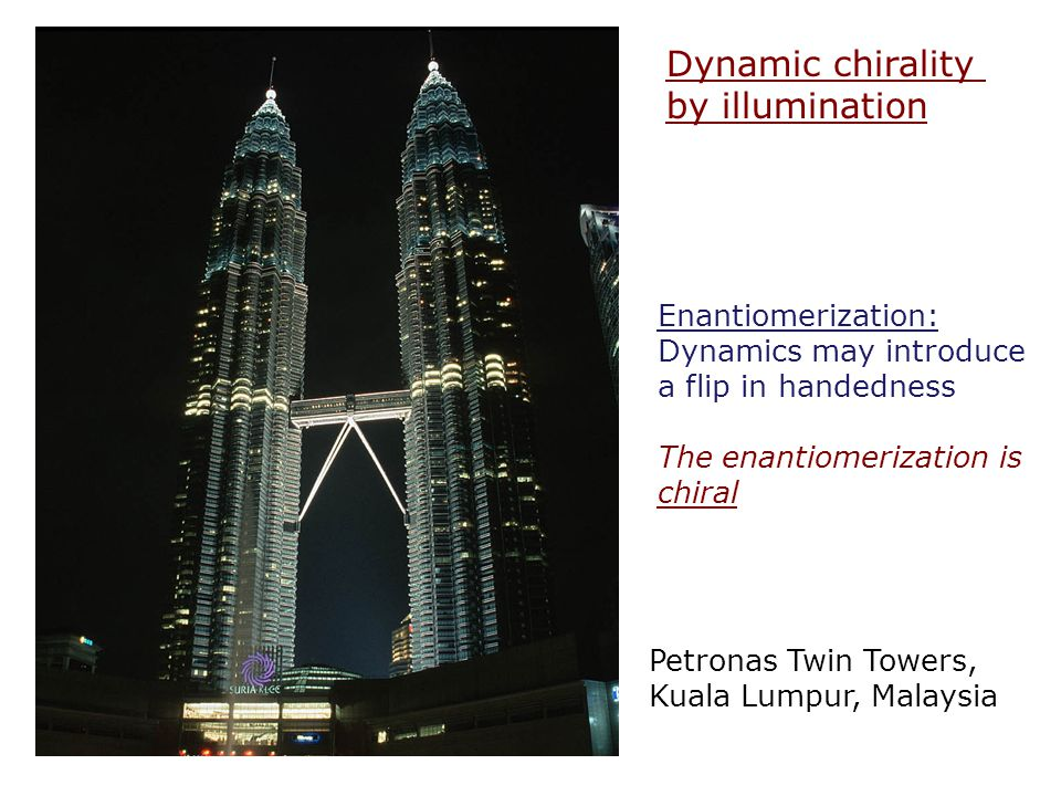 Dynamic chirality by illumination Petronas Twin Towers, Kuala Lumpur, Malaysia Enantiomerization: Dynamics may introduce a flip in handedness The enan