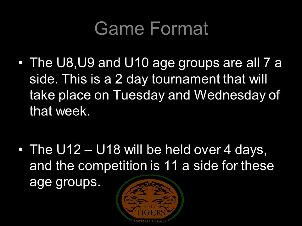 Game Format The U8,U9 and U10 age groups are all 7 a side.