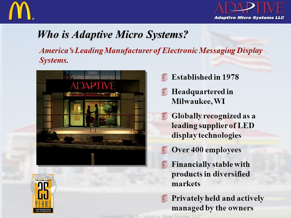 Copyright c 2004 by Adaptive Micro Systems LLC Beta Brite Indoor Display