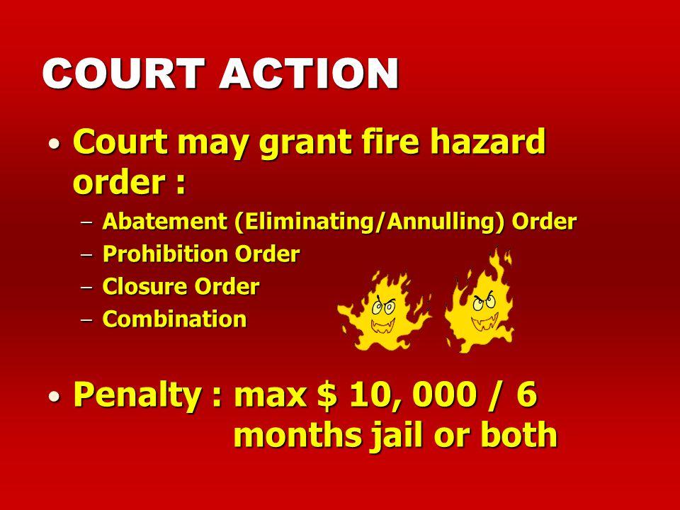 CLOSURE ORDER Examples: Recalcitrant cases of overcrowding, > 50%Recalcitrant cases of overcrowding, > 50% Unauthorised operation of fire hazardous tr