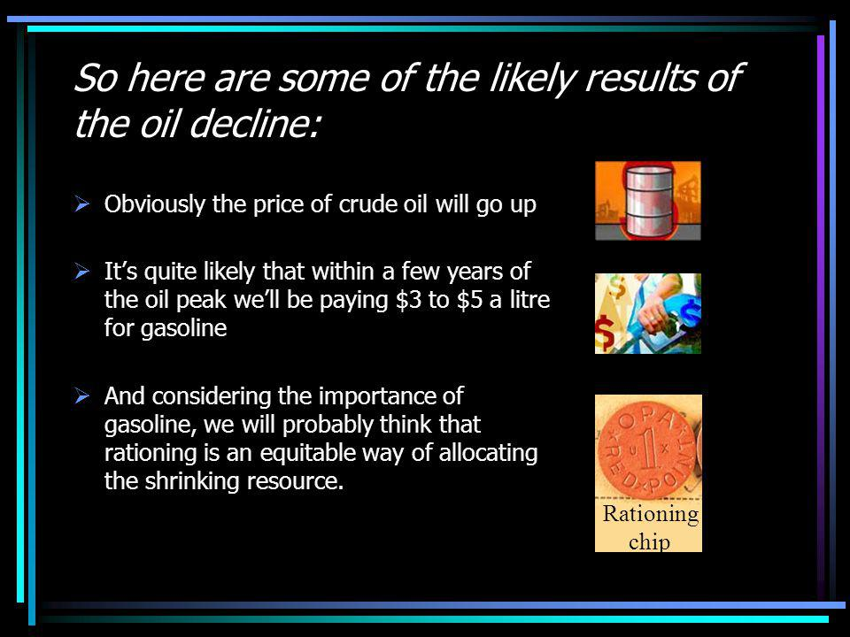 So here are some of the likely results of the oil decline: Obviously the price of crude oil will go up Its quite likely that within a few years of the oil peak well be paying $3 to $5 a litre for gasoline And considering the importance of gasoline, we will probably think that rationing is an equitable way of allocating the shrinking resource.