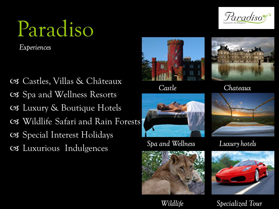 Castles, Villas & Châteaux Spa and Wellness Resorts Luxury & Boutique Hotels Wildlife Safari and Rain Forests Special Interest Holidays Luxurious Indulgences CastleChateaux Luxury hotels Wildlife Spa and Wellness Specialized Tour Paradiso Experiences