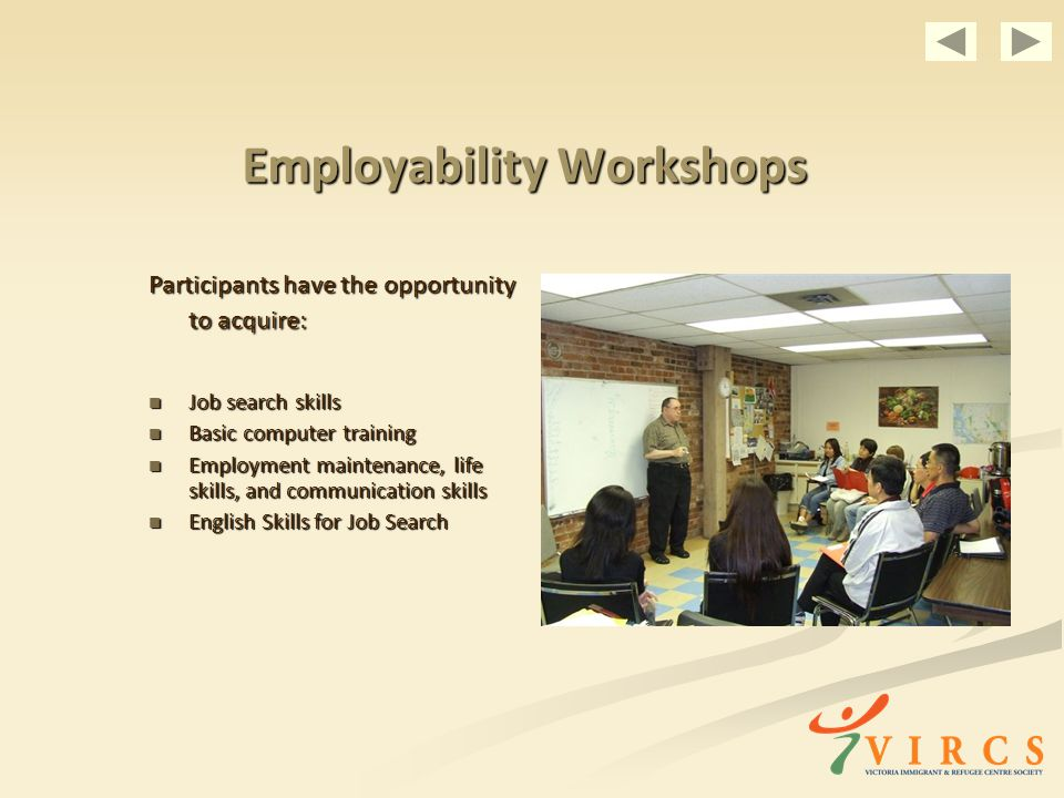 Employability Workshops Participants have the opportunity to acquire: Job search skills Job search skills Basic computer training Basic computer training Employment maintenance, life skills, and communication skills Employment maintenance, life skills, and communication skills English Skills for Job Search English Skills for Job Search
