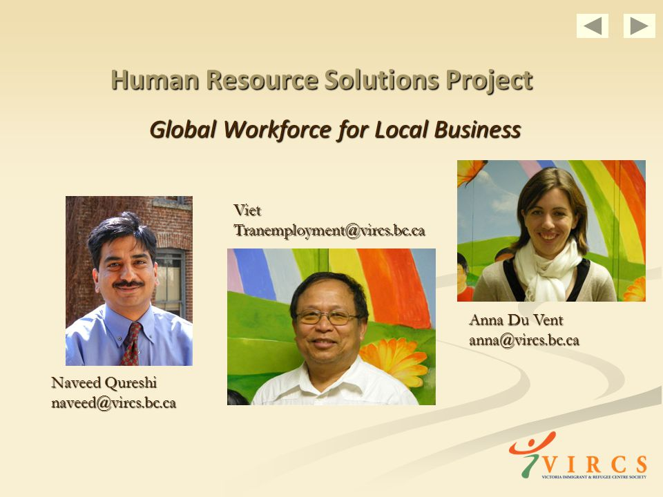 Human Resource Solutions Project Global Workforce for Local Business Viet Naveed Qureshi Anna Du Vent