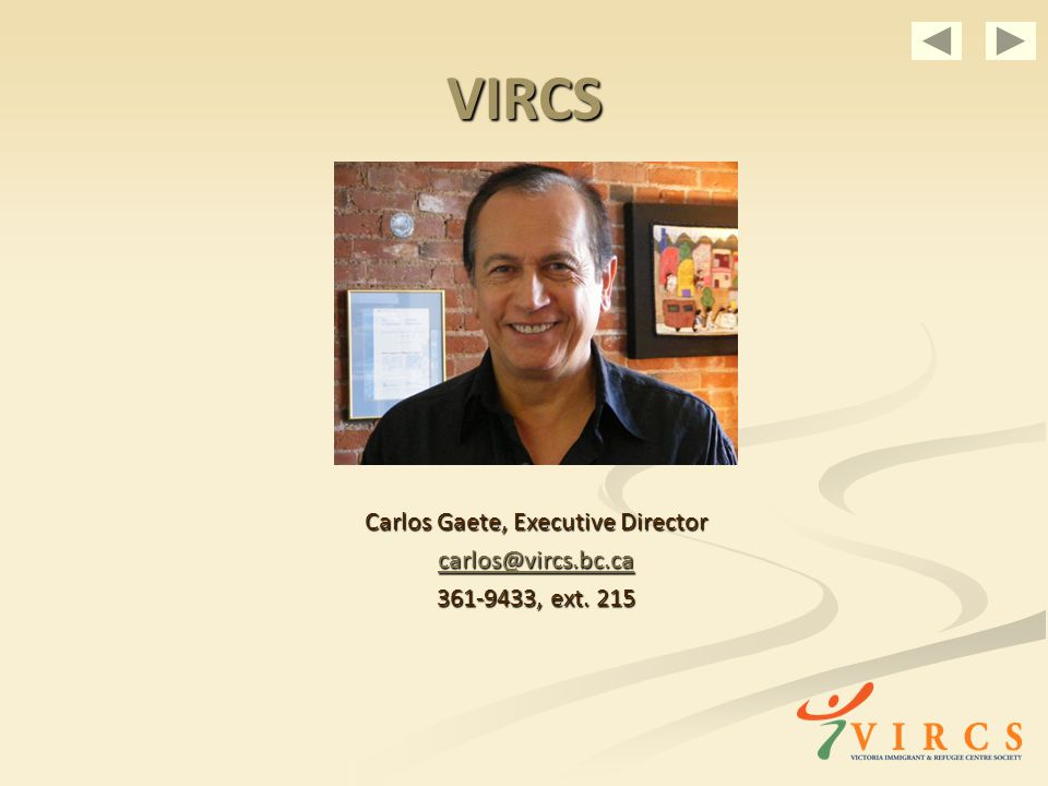 VIRCS Carlos Gaete, Executive Director , ext. 215