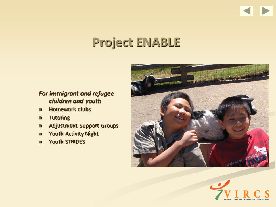 Project ENABLE For immigrant and refugee children and youth Homework clubs Homework clubs Tutoring Tutoring Adjustment Support Groups Adjustment Support Groups Youth Activity Night Youth Activity Night Youth STRIDES Youth STRIDES