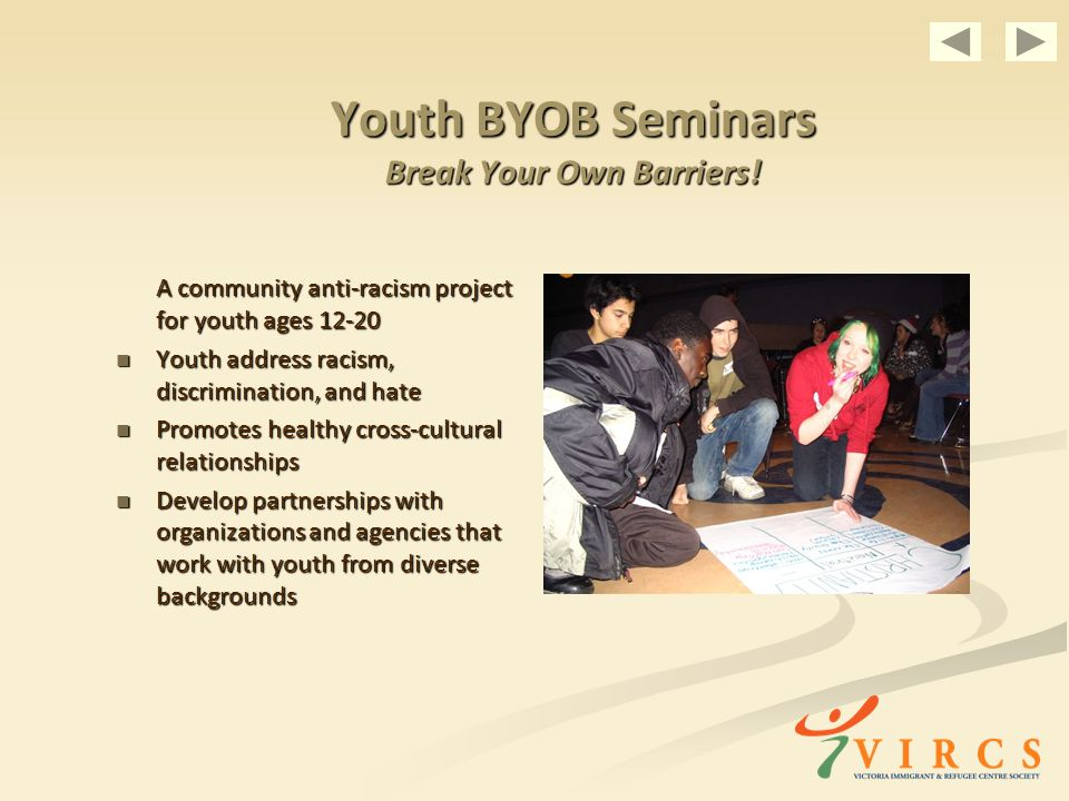 Youth BYOB Seminars Break Your Own Barriers.