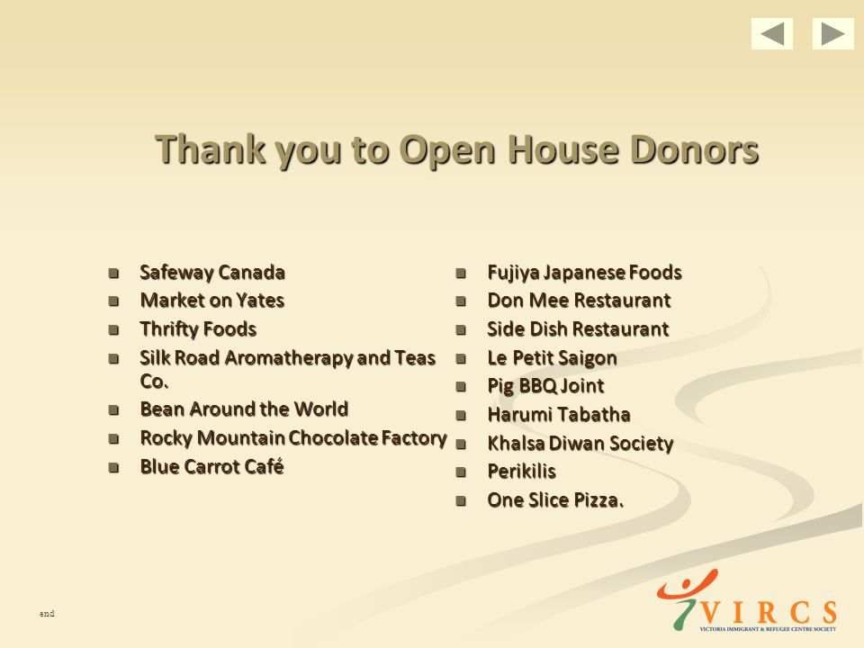 Thank you to Open House Donors Safeway Canada Safeway Canada Market on Yates Market on Yates Thrifty Foods Thrifty Foods Silk Road Aromatherapy and Teas Co.