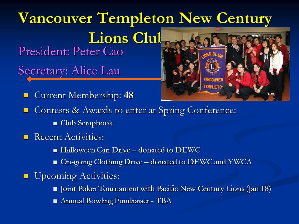 Vancouver Templeton New Century Lions Club President: Peter Cao Secretary: Alice Lau Current Membership: 48 Current Membership: 48 Contests & Awards to enter at Spring Conference: Contests & Awards to enter at Spring Conference: Club Scrapbook Club Scrapbook Recent Activities: Recent Activities: Halloween Can Drive – donated to DEWC Halloween Can Drive – donated to DEWC On-going Clothing Drive – donated to DEWC and YWCA On-going Clothing Drive – donated to DEWC and YWCA Upcoming Activities: Upcoming Activities: Joint Poker Tournament with Pacific New Century Lions (Jan 18) Joint Poker Tournament with Pacific New Century Lions (Jan 18) Annual Bowling Fundraiser - TBA Annual Bowling Fundraiser - TBA