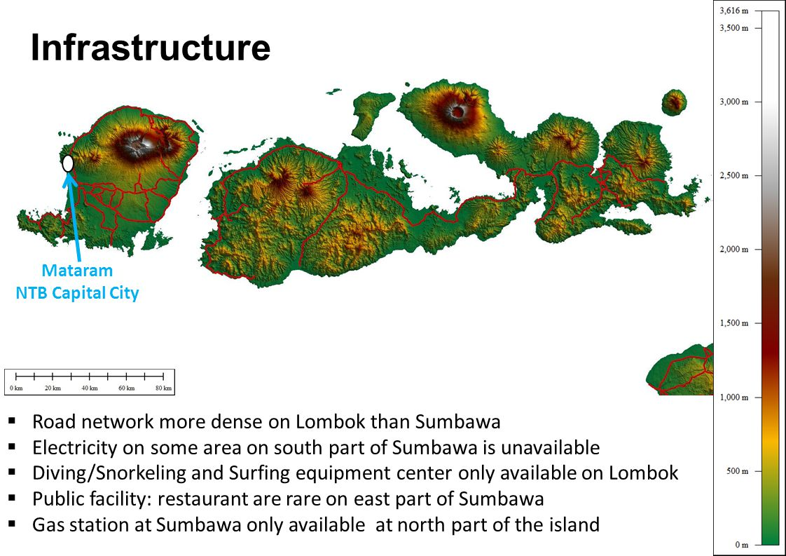 Infrastructure Road network more dense on Lombok than Sumbawa Electricity on some area on south part of Sumbawa is unavailable Diving/Snorkeling and S