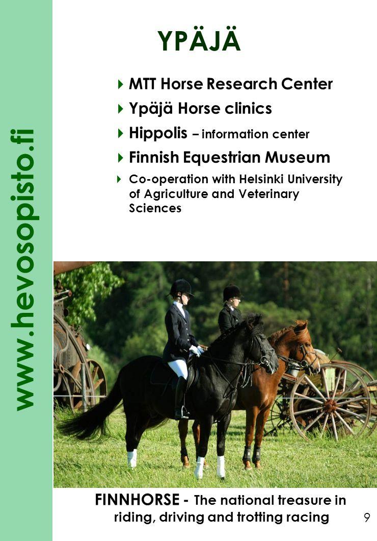 www.hevosopisto.fi 9 YPÄJÄ MTT Horse Research Center Ypäjä Horse clinics Hippolis – information center Finnish Equestrian Museum Co-operation with Hel