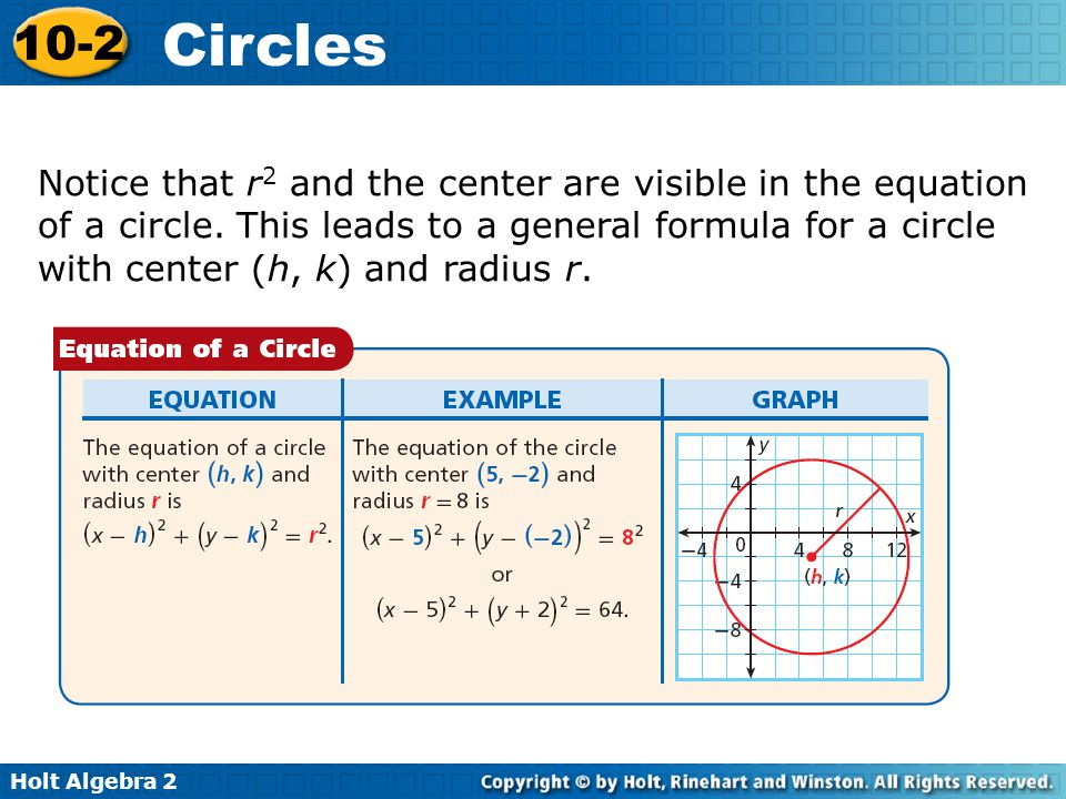 Holt Algebra 2 10-2 Circles If the center of the circle is at the origin, the equation simplifies to x 2 + y 2 = r 2.