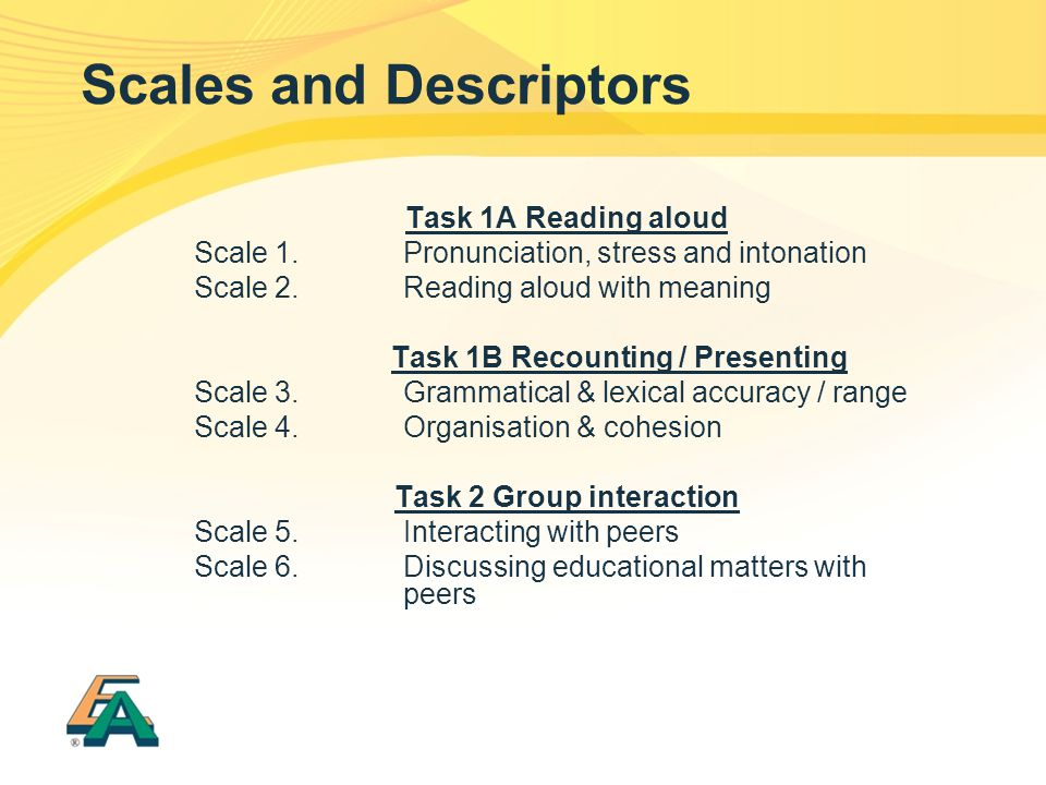 Scales and Descriptors Task 1A Reading aloud Scale 1.Pronunciation, stress and intonation Scale 2.Reading aloud with meaning Task 1B Recounting / Pres