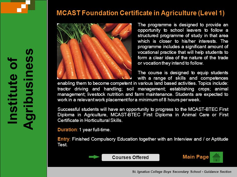 MCAST Foundation Certificate in Agriculture (Level 1) The programme is designed to provide an opportunity to school leavers to follow a structured programme of study in that area which is closer to his/her interests.