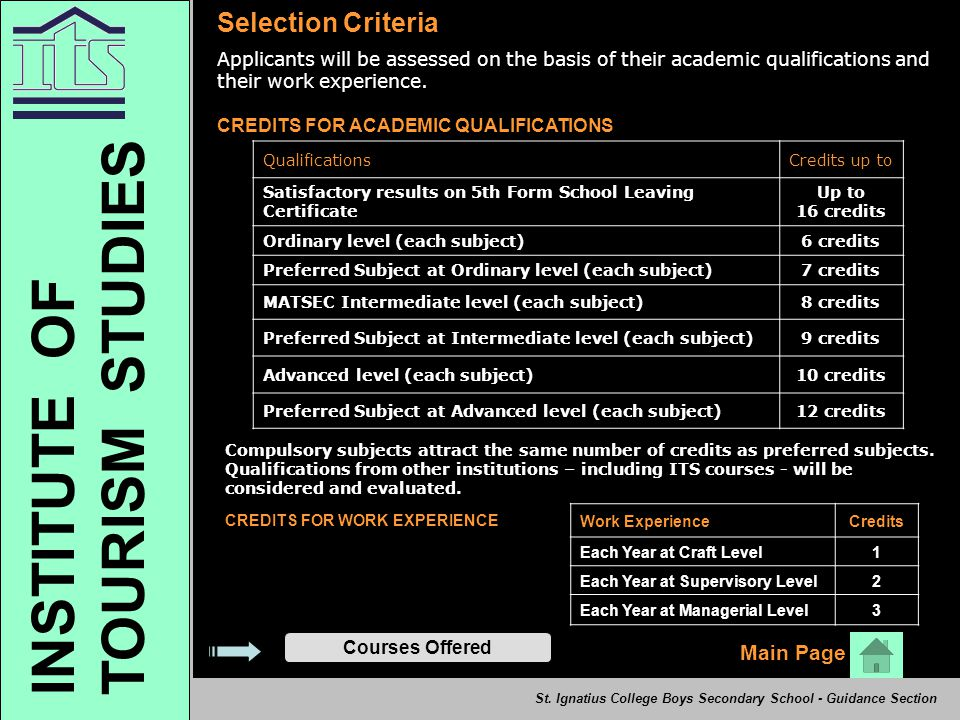 Selection Criteria Applicants will be assessed on the basis of their academic qualifications and their work experience. CREDITS FOR ACADEMIC QUALIFICA