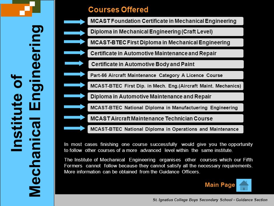 MCAST Foundation Certificate in Mechanical Engineering Courses Offered Diploma in Mechanical Engineering (Craft Level)MCAST-BTEC First Diploma in Mechanical EngineeringCertificate in Automotive Maintenance and RepairCertificate in Automotive Body and Paint Part-66 Aircraft Maintenance Category A Licence Course MCAST-BTEC First Dip.