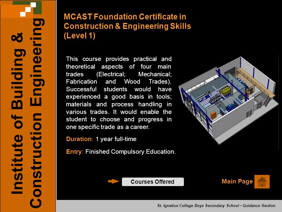 MCAST Foundation Certificate in Construction & Engineering Skills (Level 1) Main Page Institute of Building & Construction Engineering Courses Offered