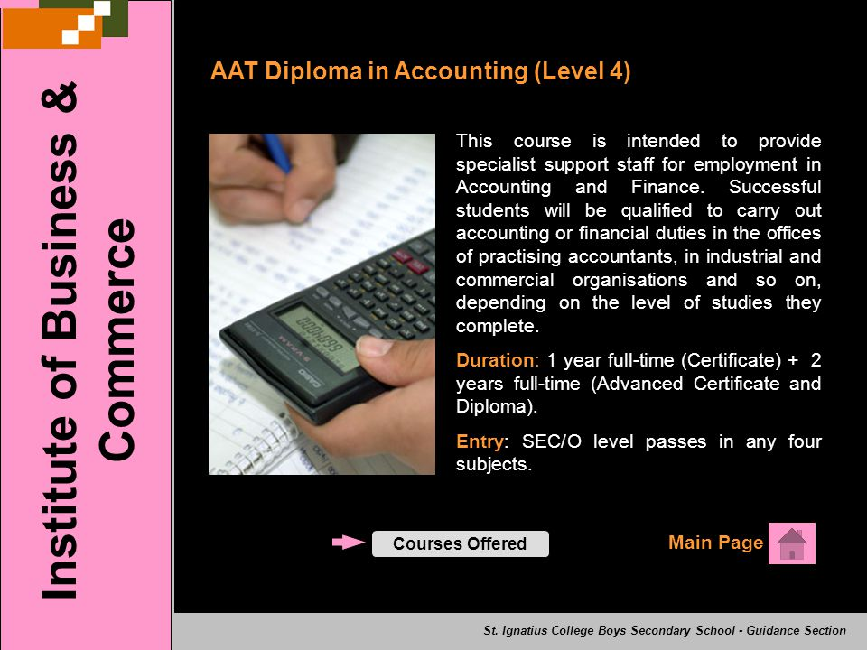 AAT Diploma in Accounting (Level 4) Main Page Institute of Business & Commerce St.