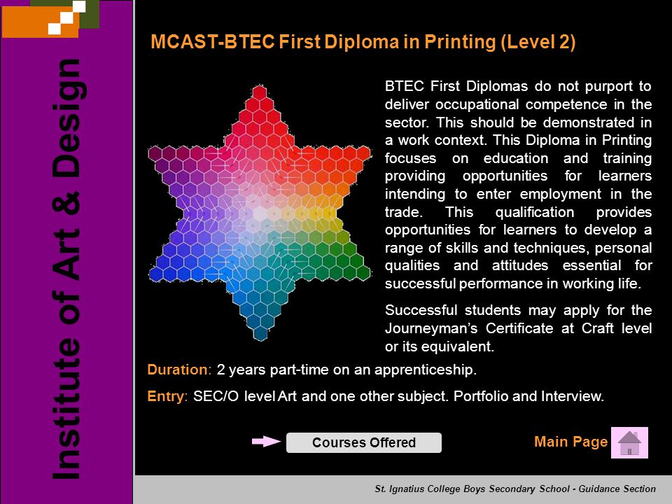 MCAST-BTEC First Diploma in Printing (Level 2) Main Page Institute of Art & Design St. Ignatius College Boys Secondary School - Guidance Section BTEC