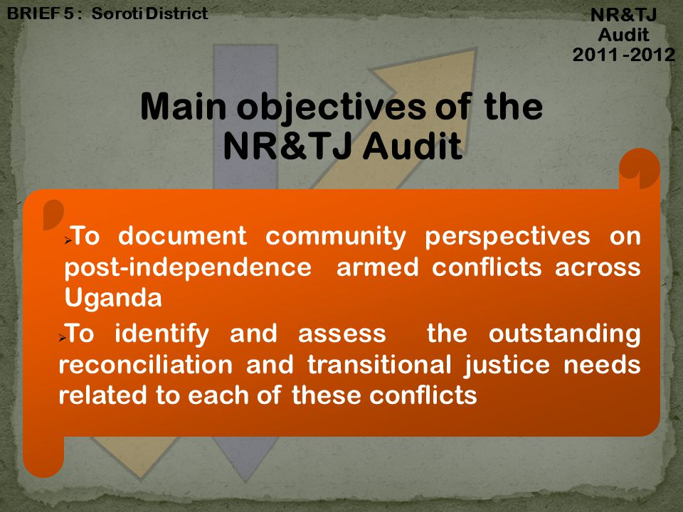 2012198620101966 Conflicts Timeline: National Level (cont.) NR&TJ Audit 2011 -2012 Conflicts without guns at national level Tribalism (1966 to date): Tribalism was also noted as being a very serious issue in the country that has divided people.