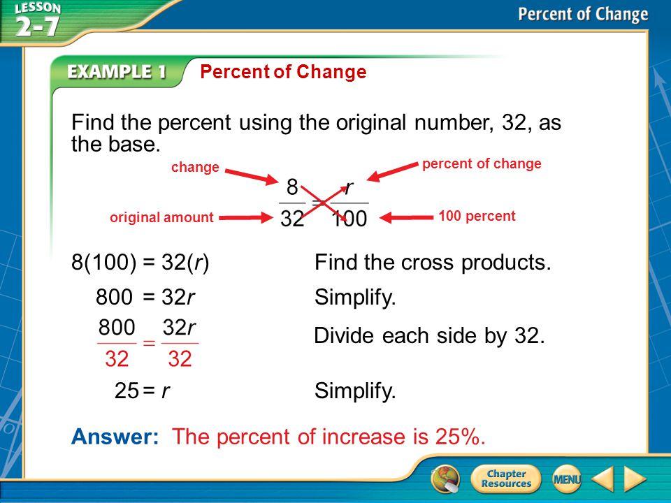 Example 1B Percent of Change B.