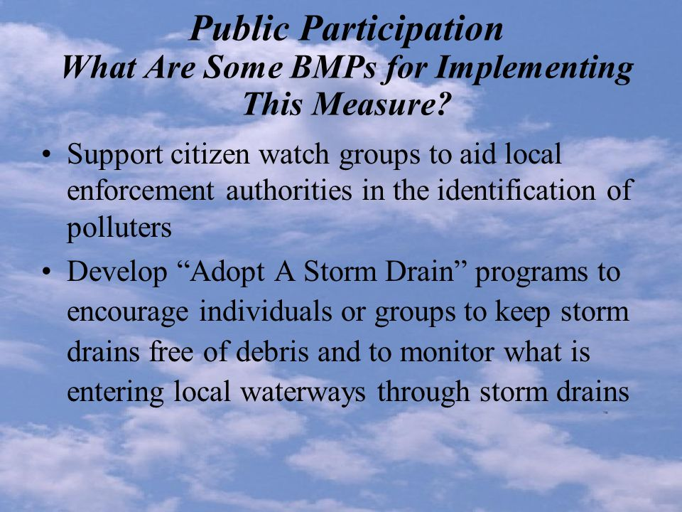 Public Participation What Are Some BMPs for Implementing This Measure.