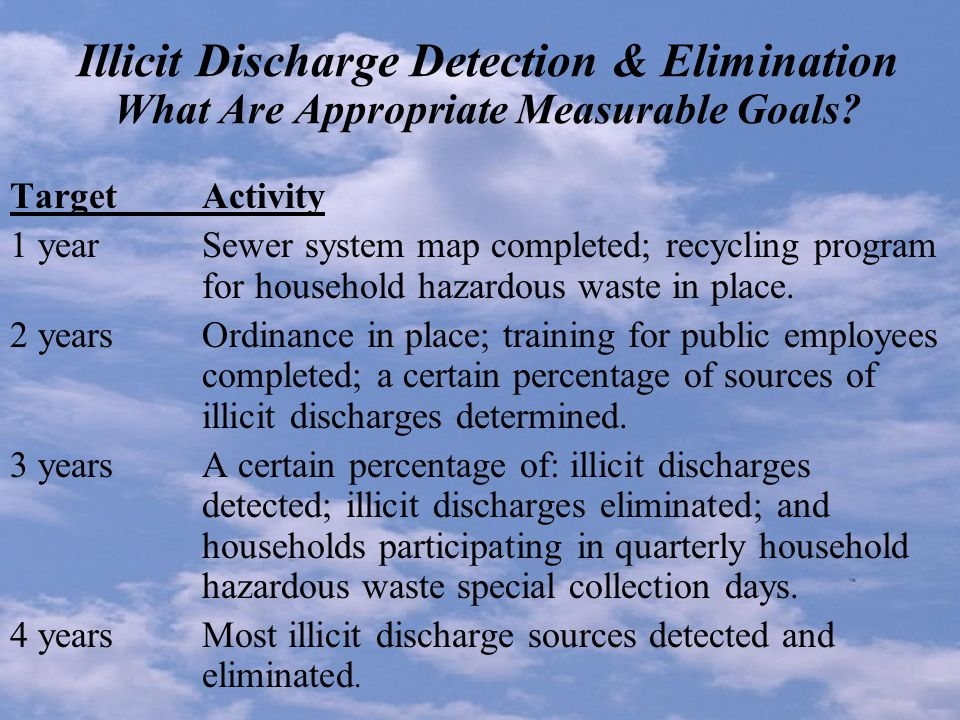Illicit Discharge Detection & Elimination What Are Appropriate Measurable Goals.