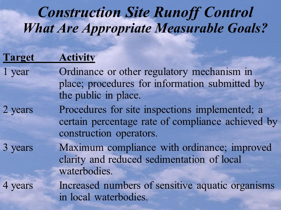 Construction Site Runoff Control What Are Appropriate Measurable Goals.