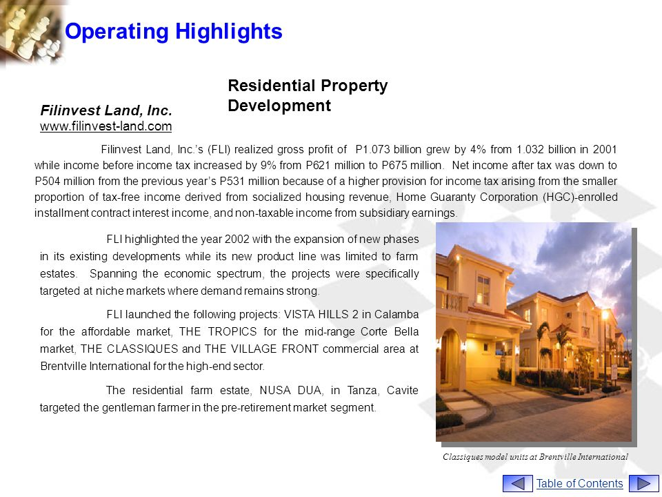 Operating Highlights Filinvest Land, Inc.