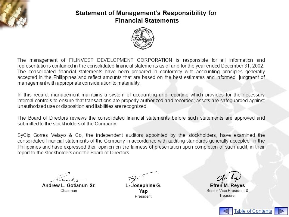 Statement of Managements Responsibility for Financial Statements The management of FILINVEST DEVELOPMENT CORPORATION is responsible for all information and representations contained in the consolidated financial statements as of and for the year ended December 31, 2002.
