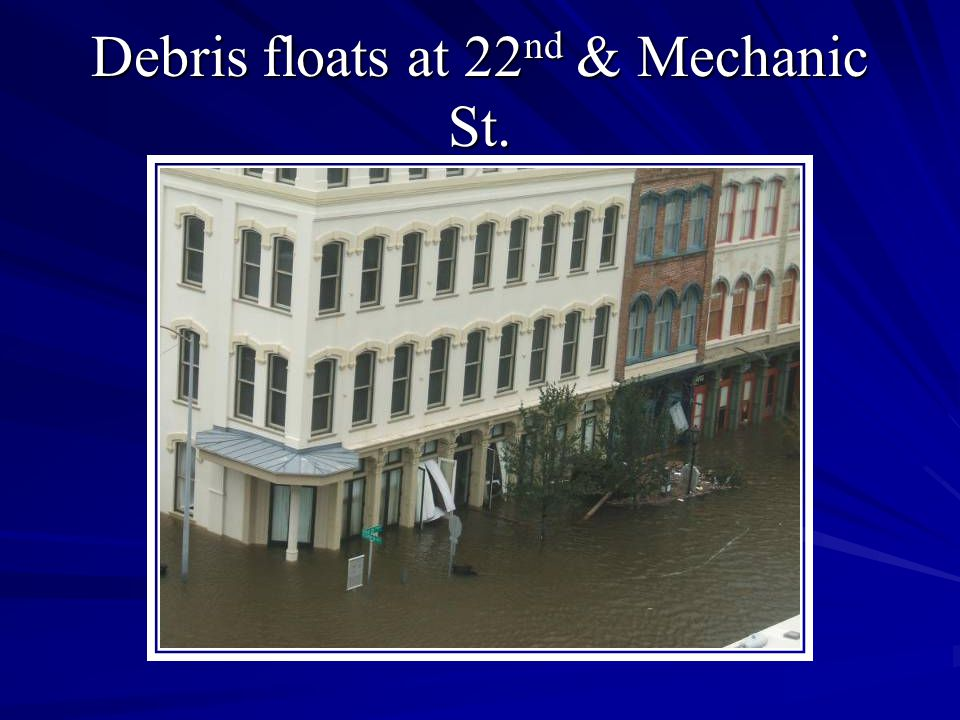 Debris floats at 22 nd & Mechanic St.